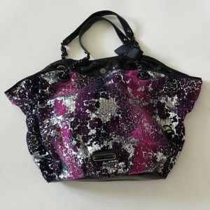 BETSEY JOHNSON purple silver sequins large tote